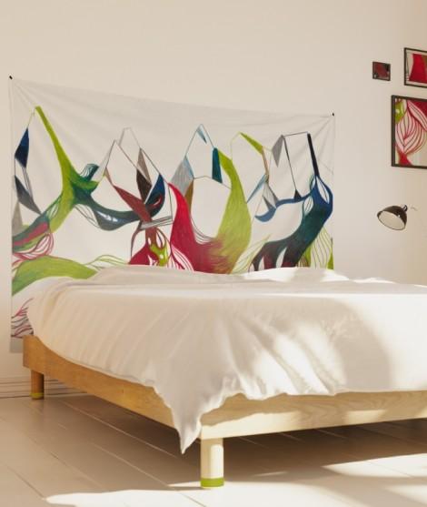 tenture-M-lit-160-vert-rouge-leontine-soulier-ornement-floral