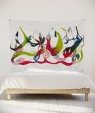 tenture-murale-L-lit-180-vert-rouge-leontine-soulier-ornement-floral