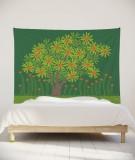 tenture-murale-L-lit-180-vert-fonce-jennifer-yerkes-fleurs-d-inde