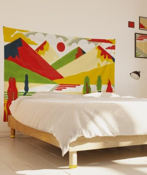 tenture-M-lit-160-jaune-rouge-laurent-moreau-montagnes