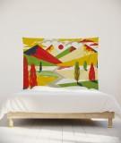 tenture-chambre-S-lit-140-jaune-rouge-laurent-moreau-montagnes