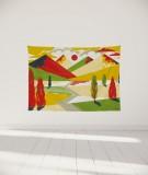 tenture-murale-S-lit-140-jaune-rouge-laurent-moreau-montagnes