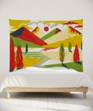 tenture-murale-L-lit-180-jaune-rouge-laurent-moreau-montagnes