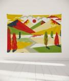 tapisserie-murale-L-lit-180-jaune-rouge-laurent-moreau-montagnes