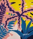 tete-de-lit-en-tissu-rose-jaune-bleu-morgane-bezou-faune