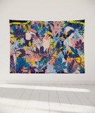 tapisserie-murale-L-lit-180-rose-jaune-bleu-morgane-bezou-faune