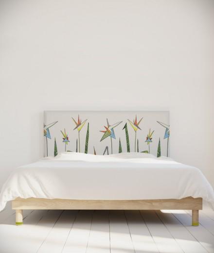 Tête de lit 160 cm Vert Blanc Axelle Grosperrin Fleur