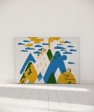 Tête de lit 160 cm Bleu Jaune Laurent Moreau Volcan