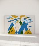 Tête de lit 180 cm Bleu Jaune Laurent Moreau Volcan