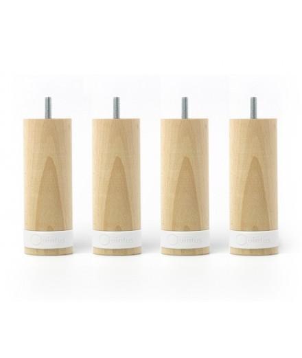 Lot de 4 pieds myquintus wood bois et silicone, hauteur 20 cm