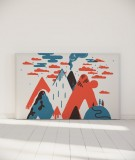 Tête de lit 180 cm Bleu Rouge Laurent Moreau Volcan