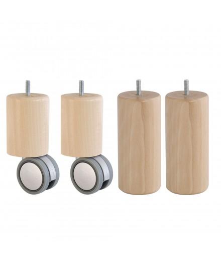 Lot de 4 pieds de sommier cylindre en Hêtre, haut. 15 cm, Roulettes
