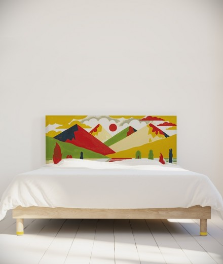 Tête de lit 160 cm Jaune Rouge Laurent Moreau Montagnes