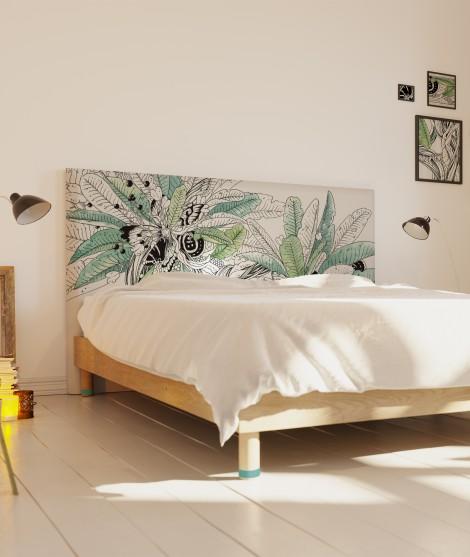 Tete de lit tissu - motif papillon