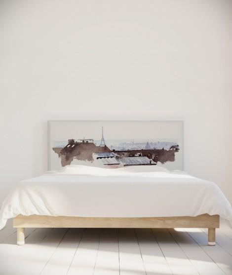 Tête de lit illustrée - Toits de Paris - Hossein Borojeni - myQuintus e2d237dbe28c