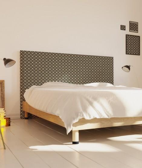 Tête de lit 160 cm Noir Beige Alexia Schroeder Ethnique graphique