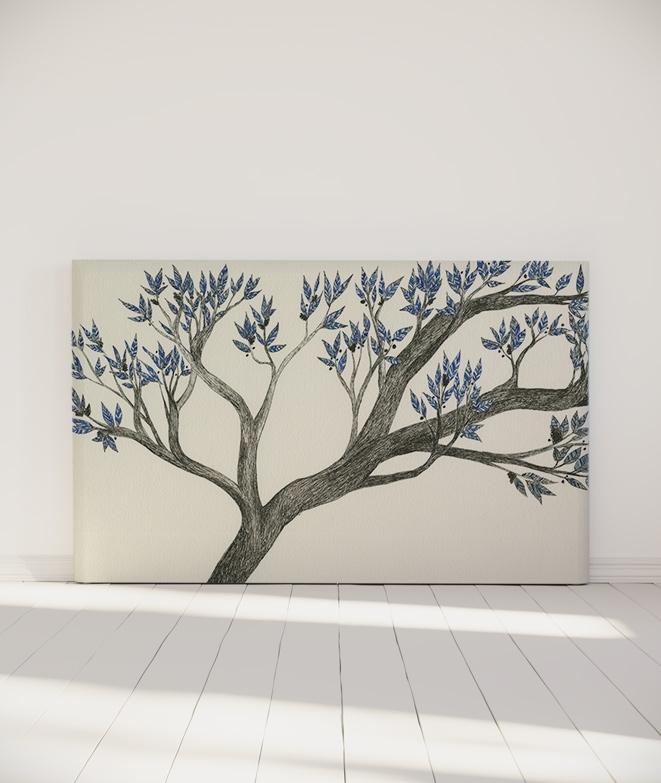 tete de lit tissu arbre