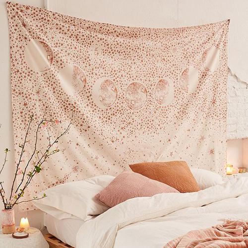 tenture-murale-cosmique-tapisserie-rose