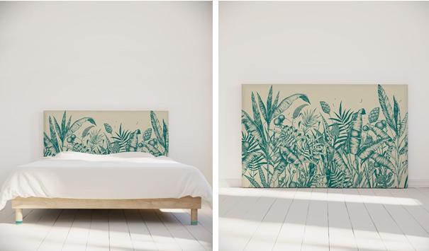 myquintus tête de lit motif jungle tropiques