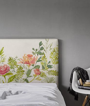 Tête de lit tissu motif roses