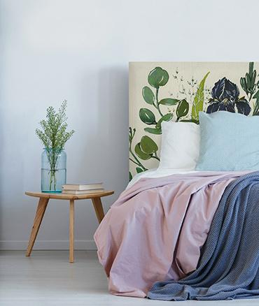 Tête de lit tissu motif fleurs iris