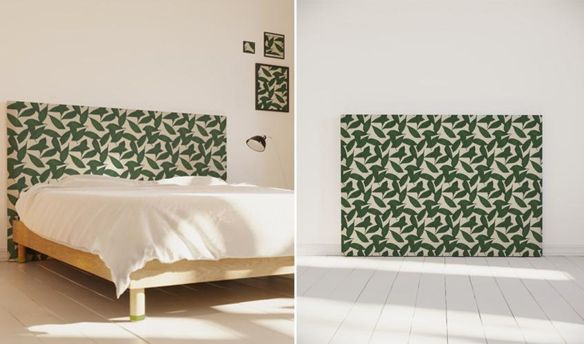 tête de lit tissu made in france motif feuilles