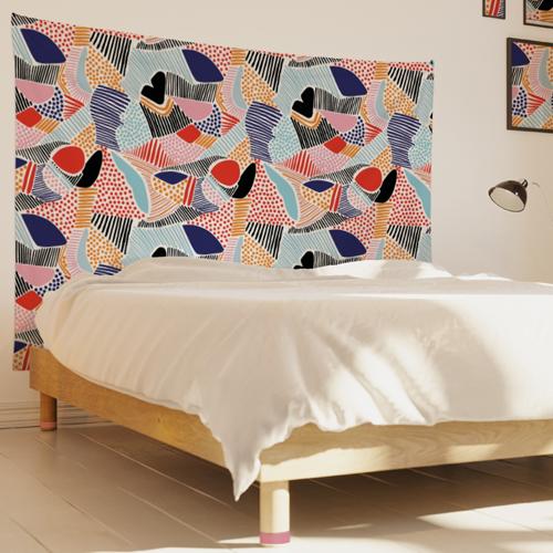 tenture-tapisserie-graphique-couleurs-chaudes